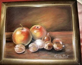 Still life apples and nuts in pastel