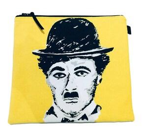 Pop Art Charlie Chaplin Project Bag,  Makeup Bag, Gadget Bag, Pencil Case, Multi Purpose Pouch, Handmade in the UK