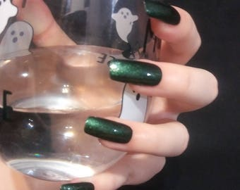 VENOM - square tip green shimmer full cover nails press on nails drag queen nails solid color gloss finish glue on with glue included