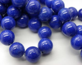 15 pearls 10 mm round blue color Malaysia jade hard