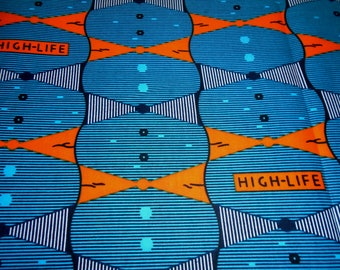 Wax Print Fabric by the Half Yard, African High Life