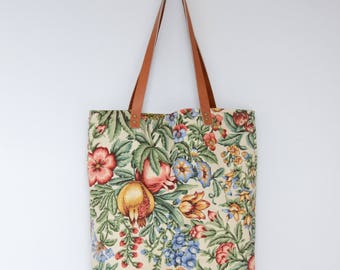 Elia Linen Tote Bag . Carry All Tote . Tote Bag with Leather Straps . Shoulder Bag . Floral Tote .