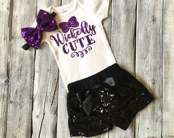 Baby girl halloween outfit, girls witch bodysuit, witch onesie,  baby girl halloween onesie, purple black legwarmers, wickedly cute