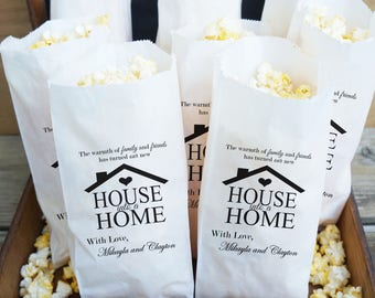 Housewarming Party Favor Bags, Popcorn Bar, New House - Grease Resistant  - Custom Names