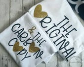 The Original, The Carbon Copy, Matching, Mommy and Me Shirts, Shirts with words, white shirts for mom and kid, copy past shirt, boy, girl