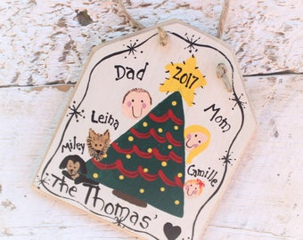 Personalized Christmas Tree Ornaments, Custom Family Ornament, Hand Painted Family Christmas Ornament, Wood Ornament