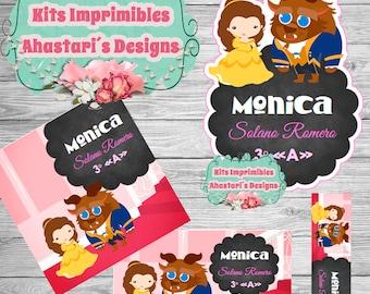 Bella y Bestia Kit editable printable school labels