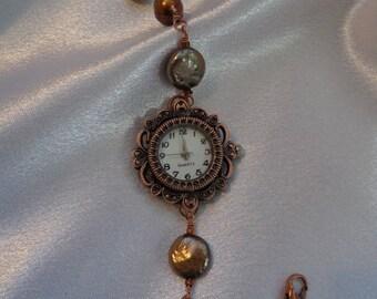 Bohemian Bronze Pearl Watch Bracelet- Boho Pearl Bracelet Watch- Genuine Pearl Watch- Multi-color Pearl Watch- Adjustable Pearl Watch