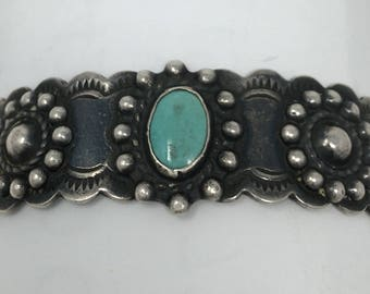 Ca. 1940's Native American Sterling Silver Fred Harvey Era Pawn Natural Turquoise Cuff Bracelet