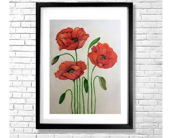 RED POPPIES - Floral Watercolor and Ink Art Print Botanical Illustration on Gray Green Background