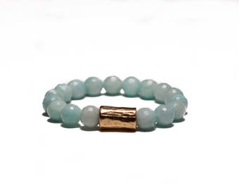 Limited edition* small batch SAM BRACELET * natural polished pure amazonite stones with brass accent