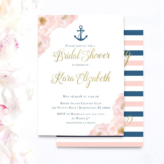 nautical bridal shower invitations yacht party invitations navy