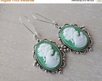 Sale Green Cameo Earrings Vintage earrings Woman Portrait Cameo Jewelry Lady Womans silhouette Cameo  Bridesmaid Gift for her Christmas  Hol