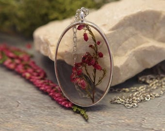 Sale Real flower necklace Flower resin pendant Pressed red flower necklace Dried flower pendant Flower jewelry  Plant necklace  Natural neck