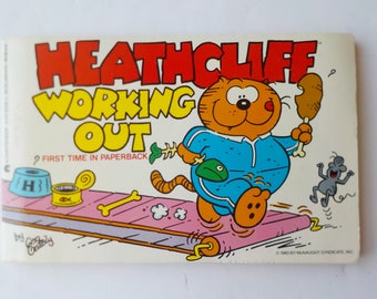 Heathcliff Working Out Paperback Book Classic Cat Comic by George Gately 1985