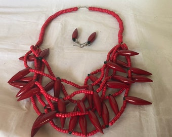 Red Chili Pepper Beaded Necklace with Chili Pepper Earrings