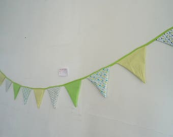 Personalized with the name of baby colors lime green fabric Garland