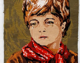 Vintage French Needlepoint Tapestry 'Boy with red kerchief'    (6711)