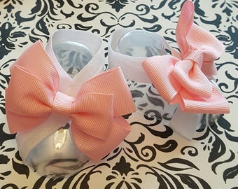 White and Pink Double Bow Baby Barefoot Sandals
