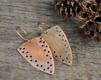 Copper Earrings, Dangle Earrings, Oxidized Copper, Triangle Earrings, Rustic Earrings