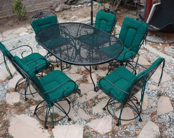 Vintage Woodard Patio Set, Salterini Model, Oval Table And 6 Rocking And  Swivel Chairs