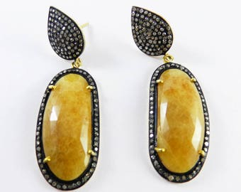 yellow sapphire Gold silver Victorian earrings handmade jewelry