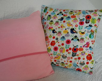 Spring pillow cover birds multicolored back pink
