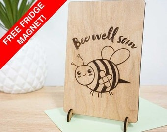 Bee well soon! Cute get well / sympathy gift card. Hand made timber card.