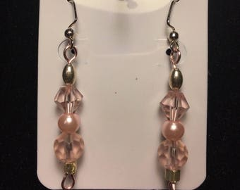 Pink Crystal and Pearl Silver Drop Earrings