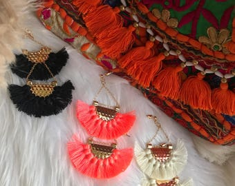 Neon orange tassle earrings  boho
