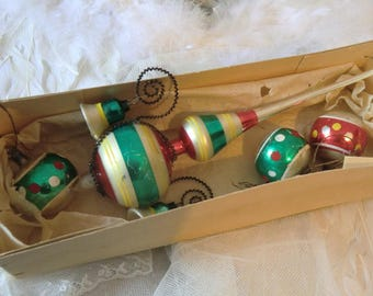 Old colorful vintage Christmas tree jewelry lace with Christmas balls