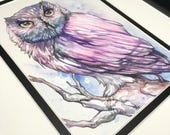 Pink and Blue Watercolor Owl Painting Hand Made Original Art