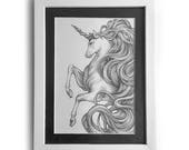 Unicorn Magic Pencil Drawing OOAK Original Art