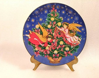 "Vintage Avon Christmas Plate ""Trimming of the Tree"" by Peggy Toole"