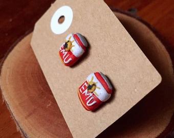 Handmade Little Bits Earrings Red Emu Export Beer Aussie Drink Custom Stud Earrings Polymer Clay Surgical Steel