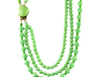 1960's Mint Green Vintage Glass Necklace
