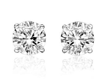0.25ct Genuine Round Diamond 14k White Gold 1/4ct Stud Earrings Screw Back