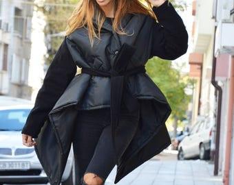 New Cashmere Trendy Coat, Black Wool Coat, Asymmetric Women Coat, Wool Cashmere Coat, Casual Jacket by SSDfashion
