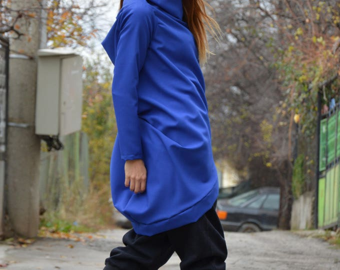 Asymmetric Blue Jacket, Casual Coat, Plus Size Sweatshirt, Kaftan, Oversize Cardigan, Extravagant Maxi Vest by SSDfashion
