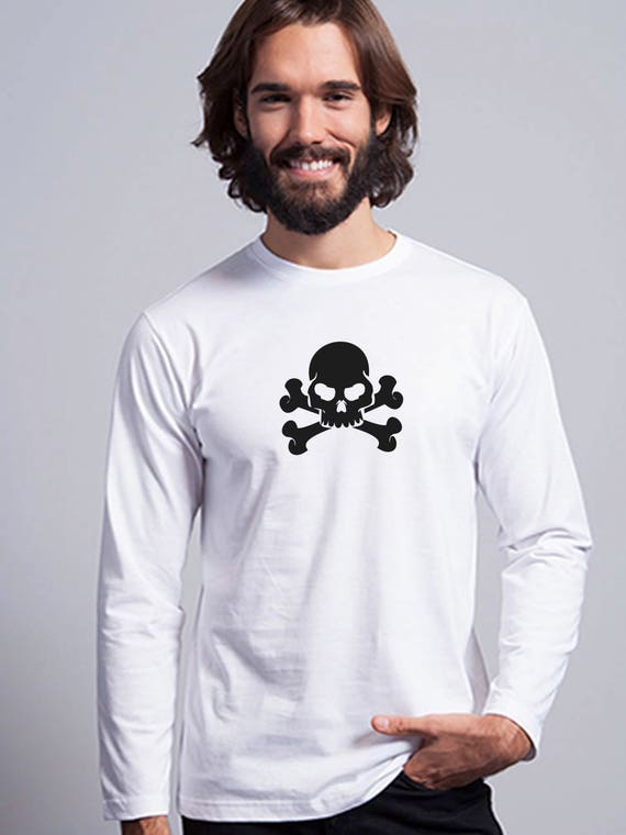 Round neck men long sleeve t-shirt SKULL