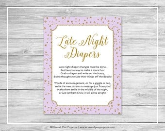 Purple and Gold Baby Shower Late Night Diapers Sign - Printable Baby Shower Late Night Diapers - Purple and Confetti Baby Shower - SP148