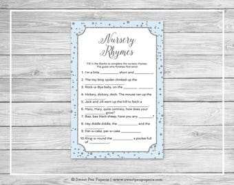 Blue and Silver Baby Shower Nursery Rhyme Game - Printable Baby Shower Nursery Rhyme Game - Blue and Silver Confetti Baby Shower - SP151