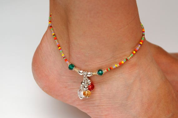 womens sterling foot silver women boho gold ankle for itm beach bracelet beads anklet chain