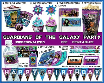 Guardians of the Galaxy birthday party, Guardians birthday banner, I am Groot party, cupcake wrappers, party favors, Star Lord, Baby Groot