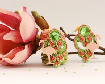 "Handmade Soutache Earrings ""Pinky Flamingo"""