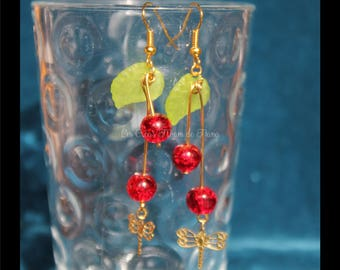 Dragonfly and American cherry earrings