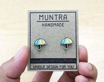 UMBRELLA STUD EARRINGS Tiny Resin Stud Earrings Umbrella Earrings Umbrella Jewelry Umbrella Post Earrings Resin Earrings Resin Jewelry