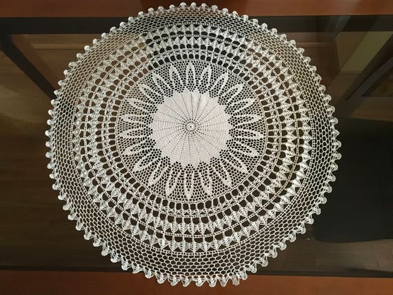 Wedding doily crochet Lace Doilies Large doily crochet Round crochet centerpiece Hand crocheted lace Vintage wedding Lace table accessory