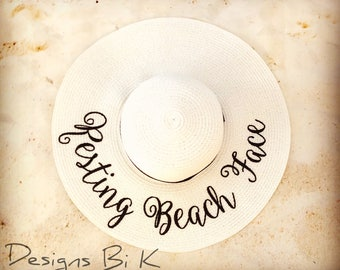 Resting beach face straw hat, Monogrammed hat, Personalized hat, Custom beach hat, Embroidered straw sun hat, Beach floppy hat, Gift for her