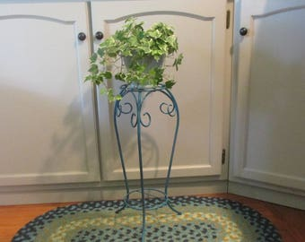 Lovey, Plant Stand, Distressed, Turquoise , Bent Metal, Plant Shelve, Cottage Chic, Beach Cottage, Indoor, Outdoor,